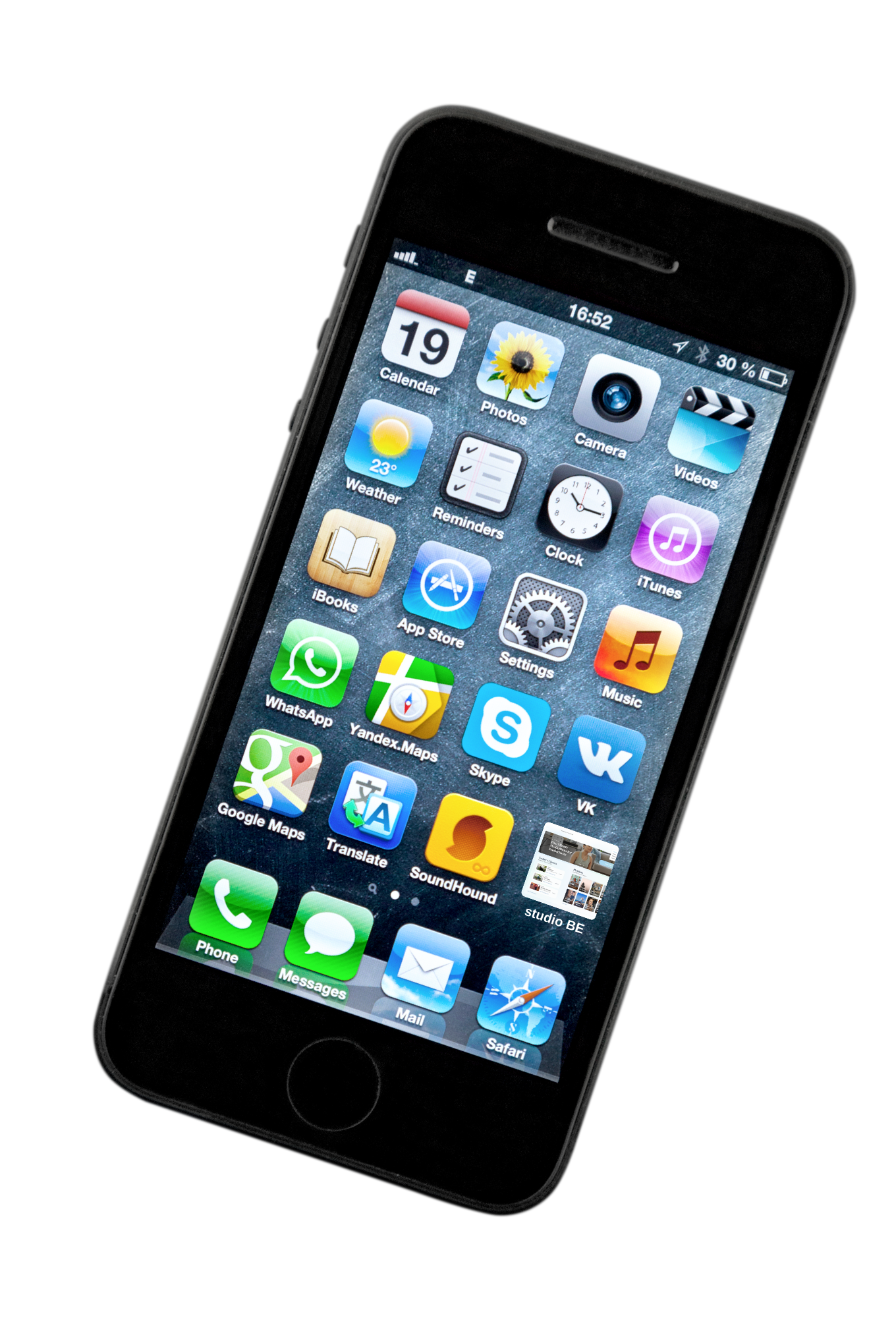 Black iPhone with a gray screen full of apps, including studio BE's website.